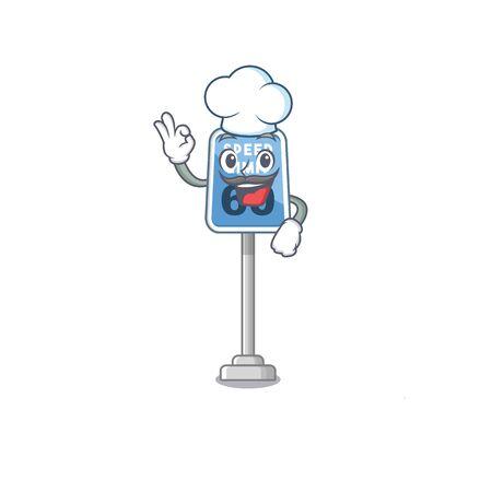 Chef speed limit at edge of cartoon road vector illustration