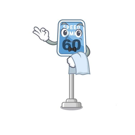 Waiter speed limit isolated in the mascot vector illustration