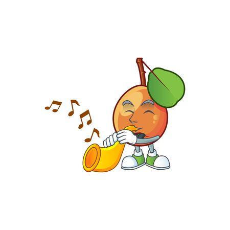 With trumpet ripe shipova cartoon character mascot shape
