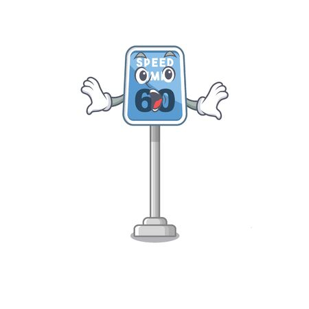 Surprised speed limit isolated in the mascot vector illustration