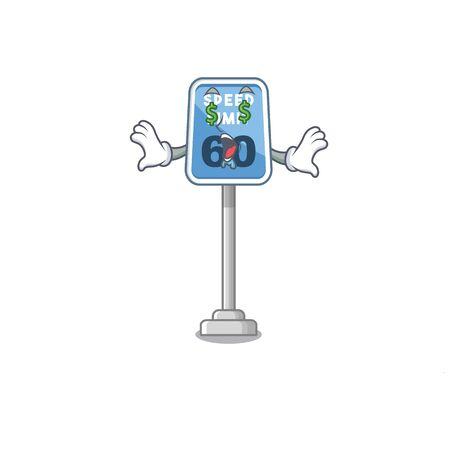 Money eye speed limit cartoon toys on table vector illustration