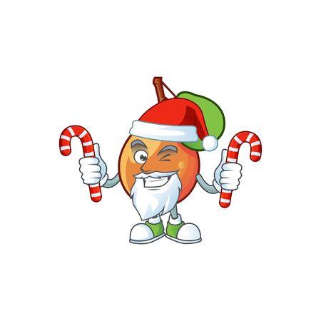Santa with candy shipova fruit cartoon on white background