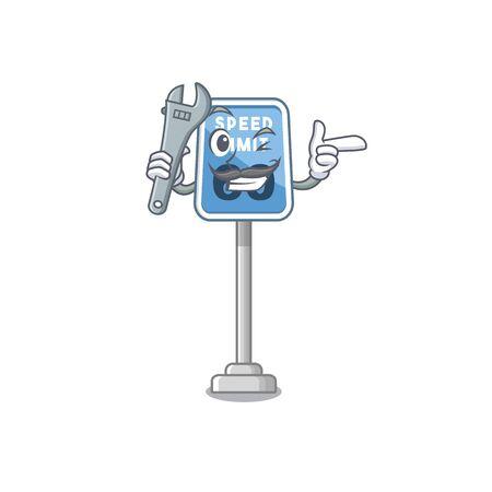 Mechanic speed limit cartoon toys on table vector illustration