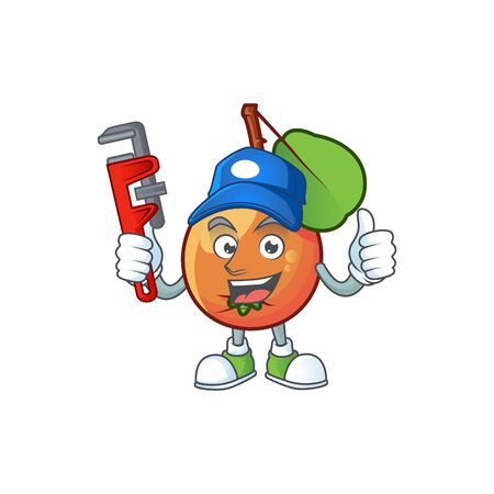 Plumber shipova fruit cartoon on white background Çizim
