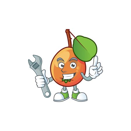 Mechanic shipova fruit cartoon on white background Çizim
