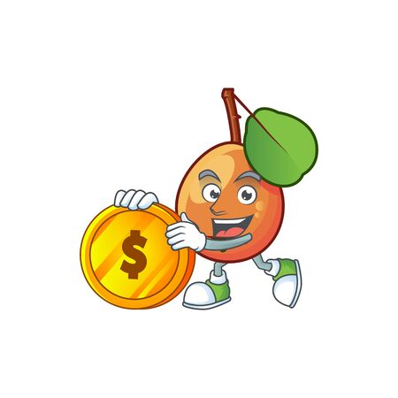 Bring coin shipova fruit cartoon on white background