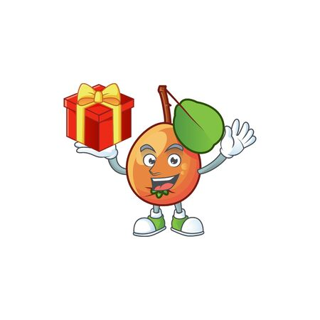 Bring gift shipova fruit cartoon on white background