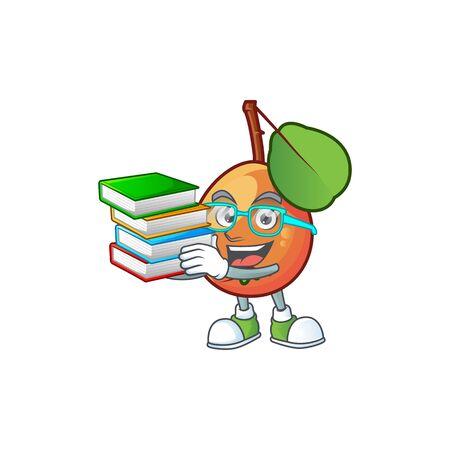 Student with book shipova fruit cartoon on white background