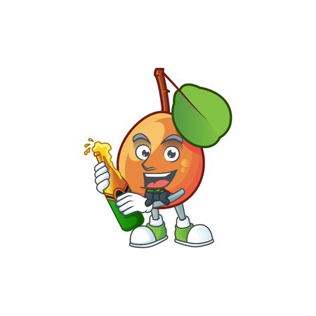 With beer shipova fruit cartoon on white background vector illustration