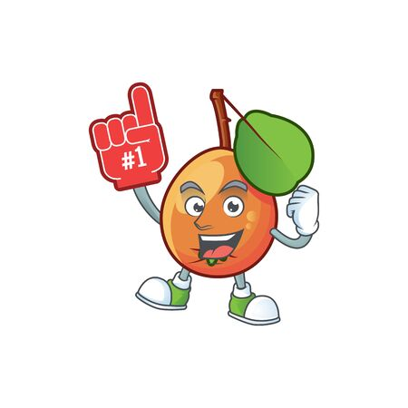 Foam finger shipova fruit cartoon on white background vector illustration