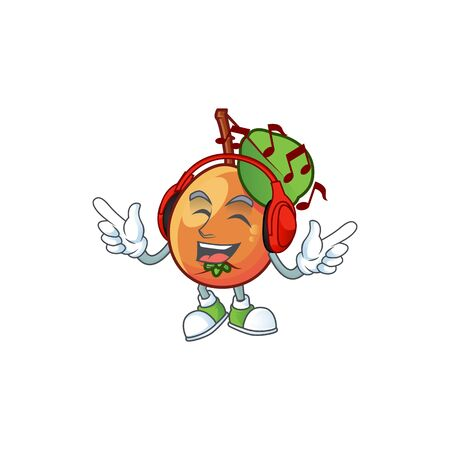Listening music ripe shipova cartoon character mascot shape