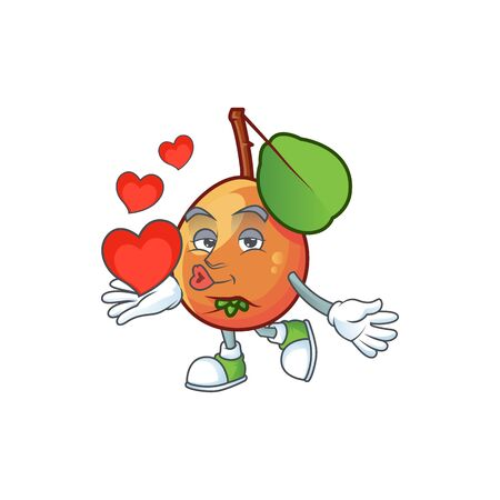 With heart ripe shipova cartoon character mascot shape Çizim