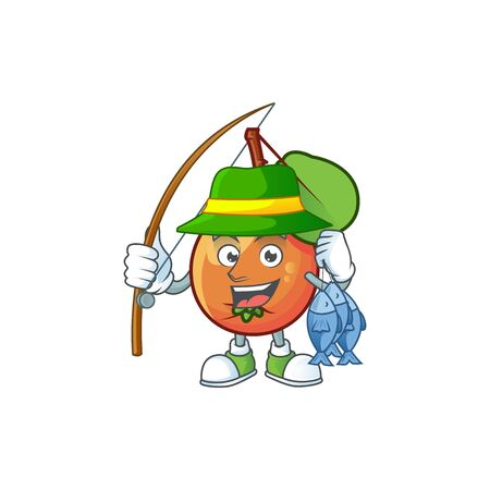 Fishing ripe shipova cartoon character mascot shape Çizim
