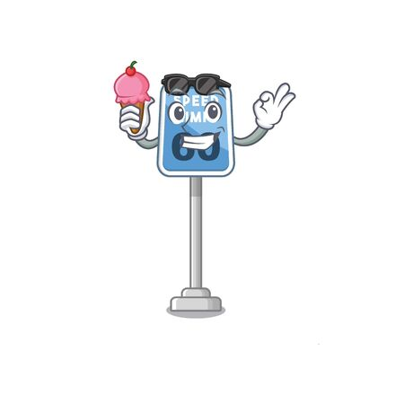 With ice cream speed limit at edge of cartoon road vector illustration