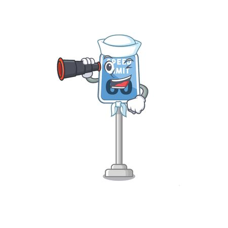 Sailor with binocular speed limit isolated in the mascot vector illustration