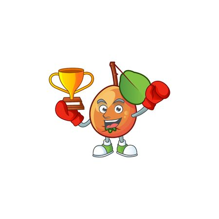 Boxing winner shipova fruit cartoon on white background Çizim