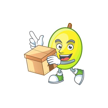 With box fresh gomortega cartoon on white background