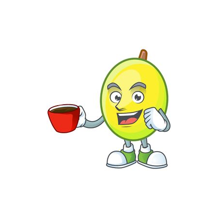 Drinking in cup fresh gomortega cartoon on white background