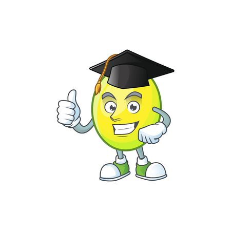 Graduation fresh gomortega cartoon on white background