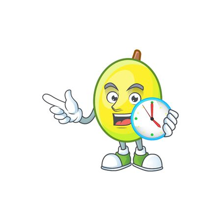With clock fresh gomortega cartoon on white background  イラスト・ベクター素材