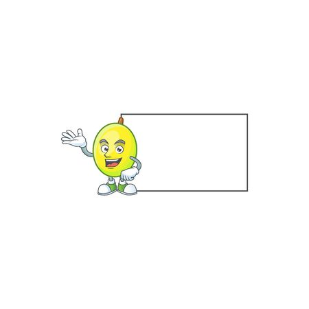 With board gomortega fruit cartoon character mascot shape 일러스트