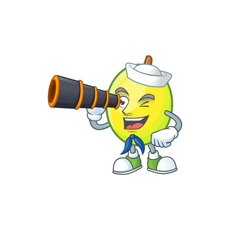 Sailor with binocular gomotega fruit healthy in cartoon mascot