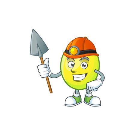Miner gomotega fruit healthy in cartoon mascot  イラスト・ベクター素材