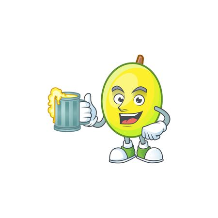 With juice gomotega fruit healthy in cartoon mascot Ilustração