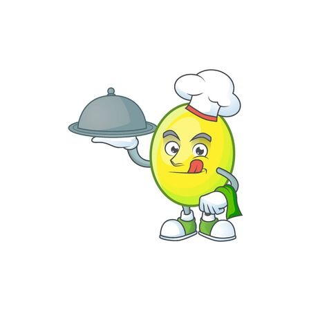Chef with food gomotega fruit healthy in cartoon mascot