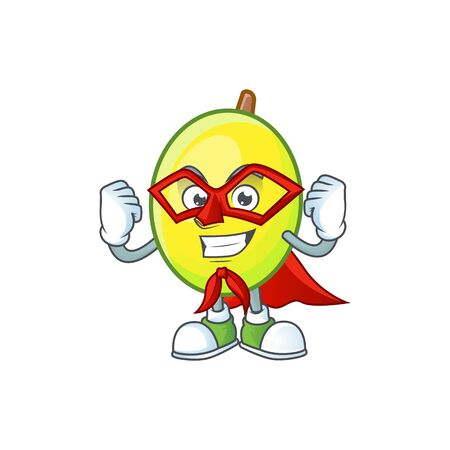 Super hero fresh gomortega cartoon on white background  イラスト・ベクター素材
