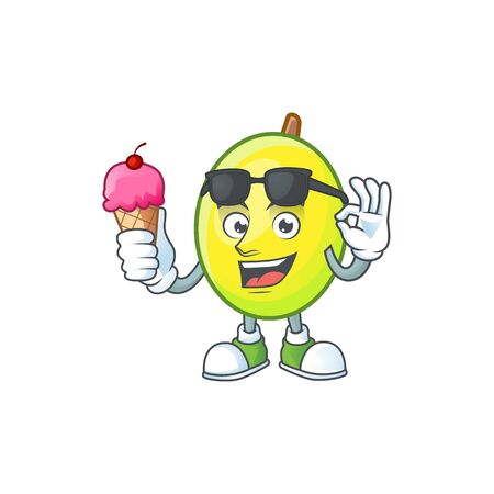With ice cream fresh gomortega cartoon on white background Фото со стока - 130074615