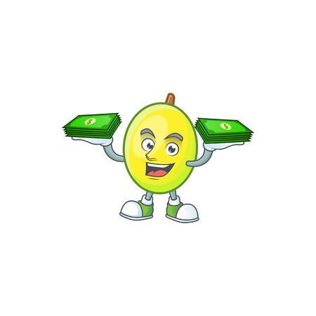 With money gomotega fruit healthy in cartoon mascot