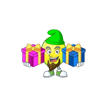 Bring two gifts gomortega fruit cartoon character mascot style.  イラスト・ベクター素材