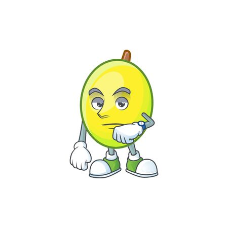 Waiting gomortega fruit cartoon character mascot style.  イラスト・ベクター素材