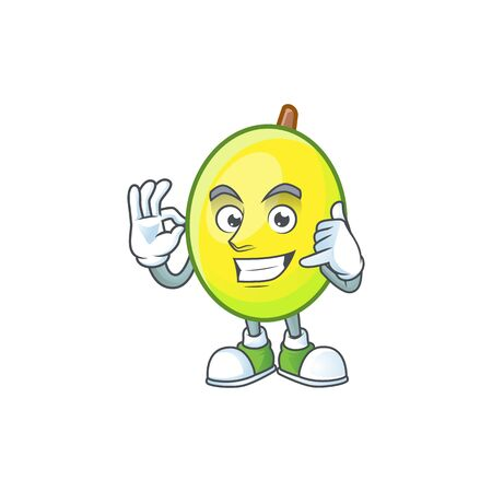 Call me gomortega fruit cartoon character mascot style.