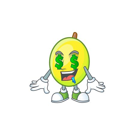 Money eye gomortega fruit cartoon character mascot style.