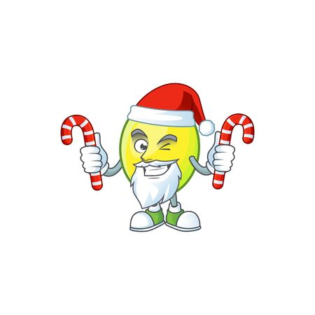 Santa with candy gomortega fruit cartoon character mascot style.  イラスト・ベクター素材