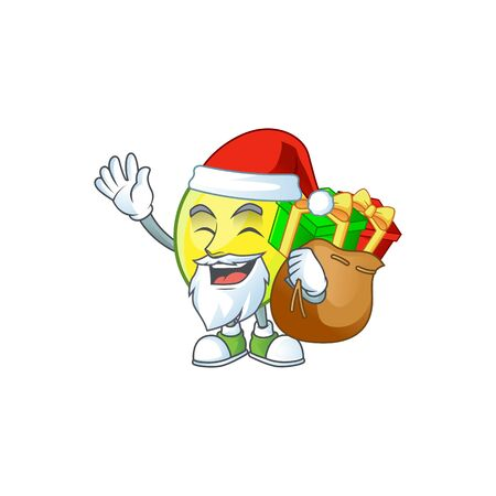 Santa with gift gomortega fruit cartoon character mascot style.