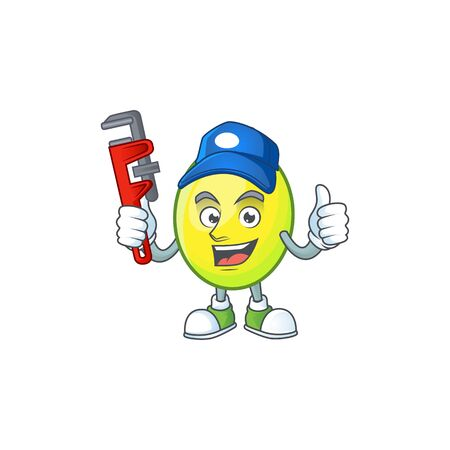 Plumber gomortega fruit cartoon character mascot style.