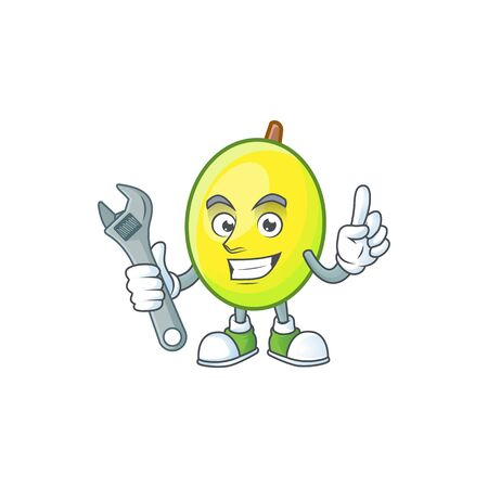 Mechanic gomortega fruit cartoon character mascot style.  イラスト・ベクター素材