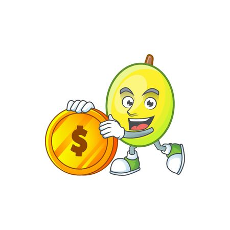 Bring coin gomortega fruit cartoon character mascot style.