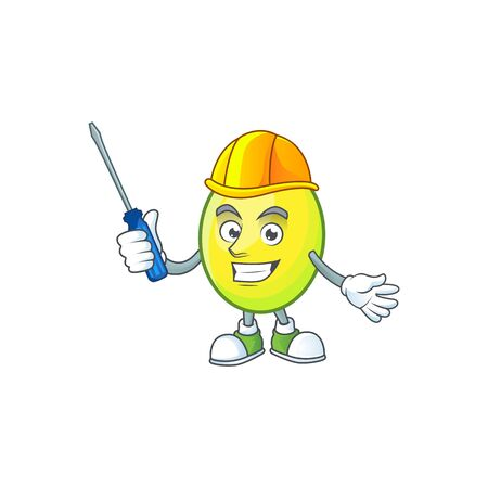 Automotive gomortega fruit cartoon character mascot style.