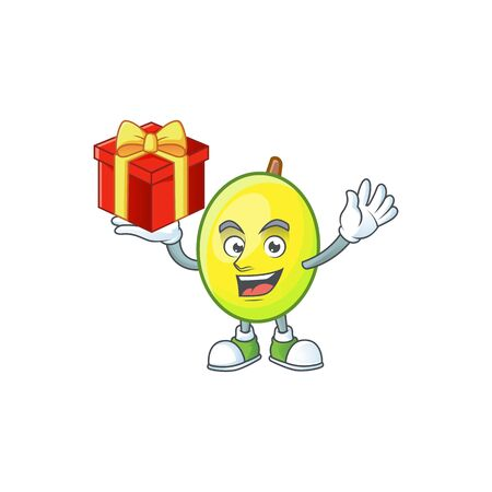 Bring gift gomortega fruit cartoon character mascot style.  イラスト・ベクター素材