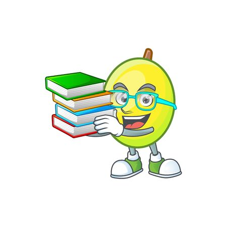 Student with book gomortega fruit cartoon character mascot style.