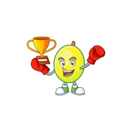 Boxing winner gomortega fruit cartoon character mascot style.