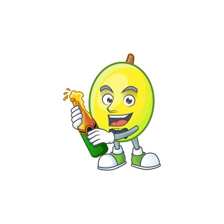 With beer gomortega fruit cartoon character mascot style.