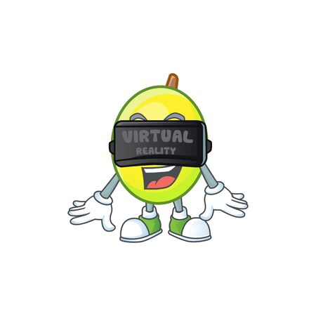 Virtual reality gomotega fruit healthy in cartoon mascot  イラスト・ベクター素材