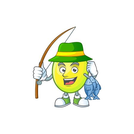 Fishing gomotega fruit healthy in cartoon mascot