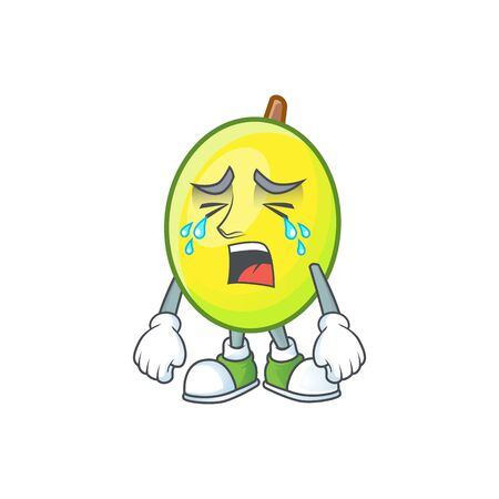 Crying gomotega fruit healthy in cartoon mascot