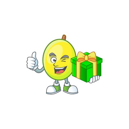 With gift gomotega fruit healthy in cartoon mascot